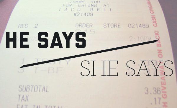 He Says/She Says: Saving receipts